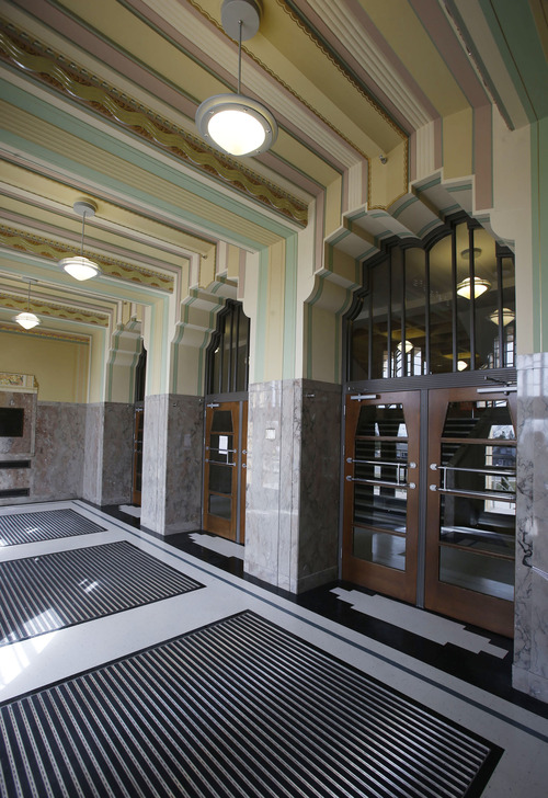 Francisco Kjolseth  |  The Salt Lake Tribune The front doors to the Ogden High School, which was built in the 1930s and has an Art Deco style, have seen updates but much of the original framework remains following a massive renovation. The Utah Heritage Foundaiton will honor the project this week.