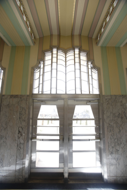 Francisco Kjolseth  |  The Salt Lake Tribune The front doors to the Ogden High School, which was built in the 1930s and has an Art Deco style , have seen updates but much of the original framework remains following a massive renovation. The Utah Heritage Foundaiton will honor the project this week.