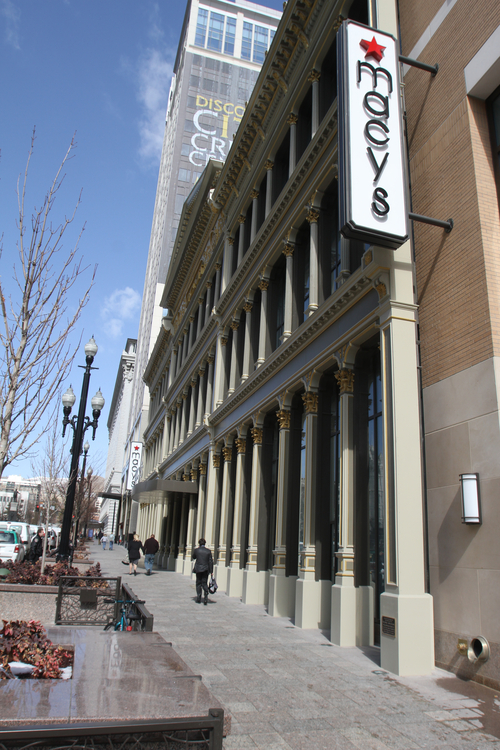 Rick Egan  | The Salt Lake Tribune  The Utah Heritage Foundation will honor City Creek Reserve for its upgrade of the old ZCMI Façade, in Salt Lake City. The building opened in 2012 as a Macy's department store.