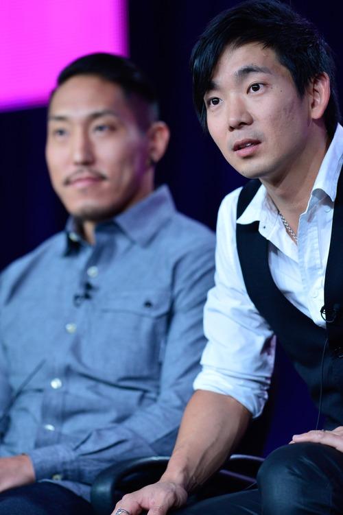 Filmmaker Tadashi Nakamura, left, and performer Jake Shimabukuro discuss the film that follows Shimabukuro over the course of a musical season. Courtesy photo