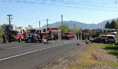 A woman was killed and a man critically injured in this head-on crash in West Valley City Thursday. (KUTV News photo)