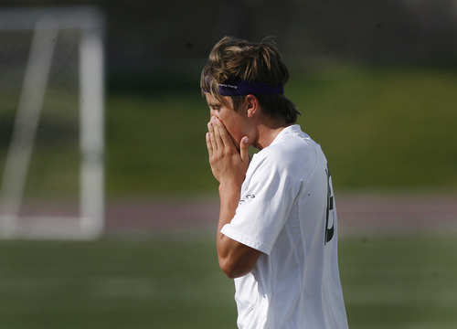 Scott Sommerdorf   |  The Salt Lake Tribune At the final whistle, Brandon Perry of Desert Hils reacts to the loss to Park City. The MIners defeated Desert Hills 2-1 in the 3A boys' soccer state semifinal, Friday, May 10, 2013. They advance to tomorrow's 3A final.