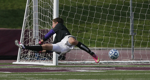 Scott Sommerdorf   |  The Salt Lake Tribune Park City goalkeeper lets through his only tally of the game - a goal by Desert Hills' Justin Brinkerhoff. Park City defeated Desert Hills 2-1 in the 3A boys' soccer state semifinal, Friday, May 10, 2013. They advance to tomorrow's 3A final.
