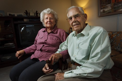 Leah Hogsten  |  The Salt Lake Tribune Renate McKitrick and husband Bill McKitrick Wednesday May 8, 2013. Renate, 90, emigrated to the United States from Prussia at age 2, and became a naturalized citizen at the age of 21. McKitrick was recently denied renewal of her Utah identification card because of discrepancies in her naturalization papers. Now U.S. Citizenship and Immigration services say her immigration records located in national archive in a Missouri cave and will take until July to retrieve.
