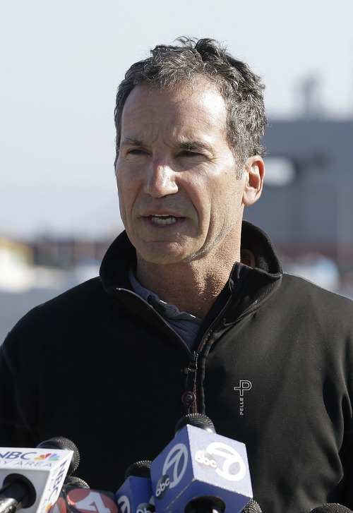 """Artemis Racing CEO Paul Cayard speaks during a news conference in Alameda, Calif., Thursday, May 9, 2013. Artemis Racing said Andrew """"Bart"""" Simpson, an Olympic gold medalist from England, died after the platform on the team's capsized catamaran trapped him underwater for about 10 minutes, during training for the America's Cup. (AP Photo/Jeff Chiu)"""