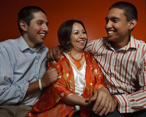 Leah Hogsten  |  The Salt Lake Tribune Rocio Mejia  and her two sons, Renee Lepe (left) and Jose Mejia (right), Monday, May 7, 2013. Rocio Mejia learned as a teenage single mother, how life can get off track at an early age. One key lesson she learned is the importance of an open, constant communication with your children -- something she did not have with her parents.