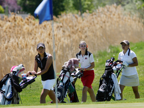 Steve Griffin | The Salt Lake Tribune   Bingham's Sirene Blair, Alta's Madi Rooker and Jessica Sloot, of Davis, head to the green on the fifth hole during the 5A girl's golf championships at Glen Eagle Golf Course  in Syracuse, Utah Monday May 13, 2013.