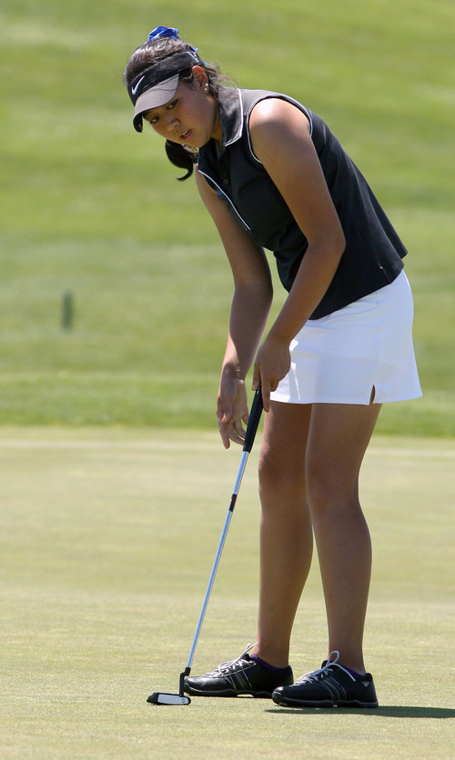 Steve Griffin | The Salt Lake Tribune   Bingham's Sirene Blair tries to find the right line as she putts for birdie on the tenth hole during the 5A girl's golf championships at Glen Eagle Golf Course  in Syracuse, Utah Monday May 13, 2013.