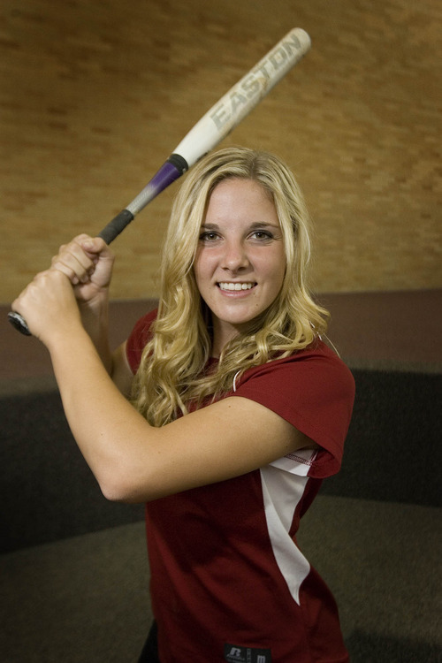 Paul Fraughton  |   Salt Lake Tribune  Viewmont High School  slugger Caitlyn Larsen who will play softball for BYU next year.                          Wednesday, May 8, 2013