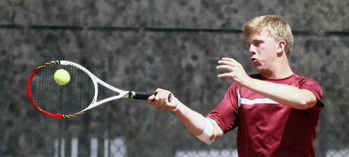 Chris Detrick     The Salt Lake Tribune Viewmont's Ethan Hymas competes during the 5A doubles tennis tournament at Liberty Park Saturday May 11, 2013.