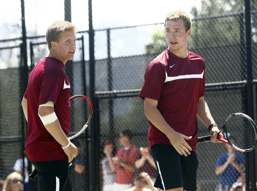 Chris Detrick     The Salt Lake Tribune Viewmont's Ethan Hymas and Viewmont's Isaac Ford compete against Brighton's Anthony Panuzio and Brighton's Mitchell Mansell during the 5A doubles tennis tournament at Liberty Park Saturday May 11, 2013.
