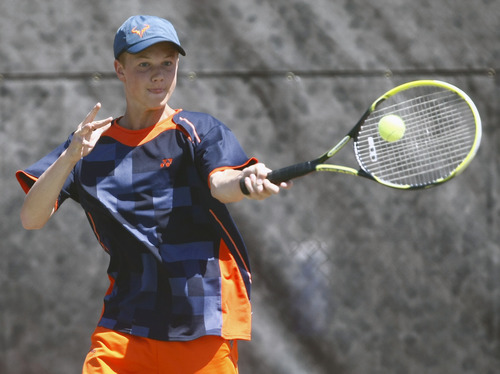 Chris Detrick     The Salt Lake Tribune Brighton's Mitchell Mansell competes during the 5A doubles tennis tournament at Liberty Park Saturday May 11, 2013.