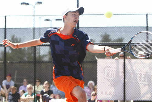 Chris Detrick     The Salt Lake Tribune Brighton's Anthony Panuzio competes during the 5A doubles tennis tournament at Liberty Park Saturday May 11, 2013.