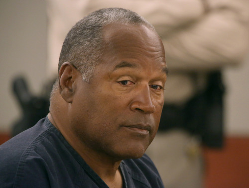 O.J. Simpson appears in court at Clark County Regional Justice Center in Las Vegas, Monday, May 13, 2013. Simpson, who is currently serving a nine-to-33-year sentence in state prison as a result of his October 2008 conviction on armed robbery and kidnapping charges, is seeking a new trial, claiming that trial lawyer Yale Galanter had conflicted interests and shouldn't have handled Simpson's armed case. (AP Photo/Las Vegas Review-Journal, Jeff Scheid, Pool)