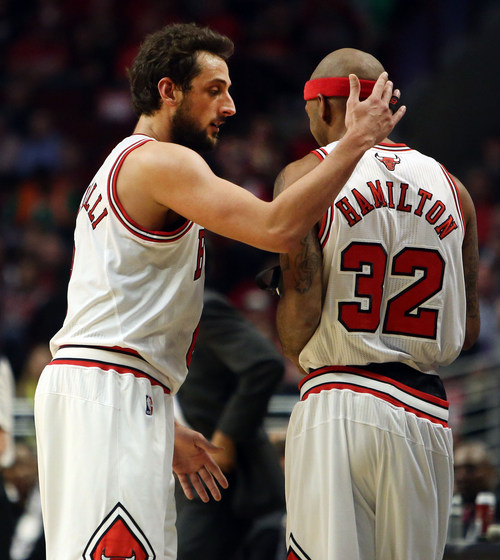 Chicago Bulls guard Marco Belinelli welcomes teammate Richard Hamilton into the game during  Game 4 of an NBA basketball playoffs Eastern Conference semifinal of the Chicago Bulls against the Miami Heat on Monday, May 13, 2013, in Chicago. The Heat won 88-65. MANDATORY CREDIT, MAGS OUT, TV OUT (AP photo / Daily Herald,  Steve Lundy )