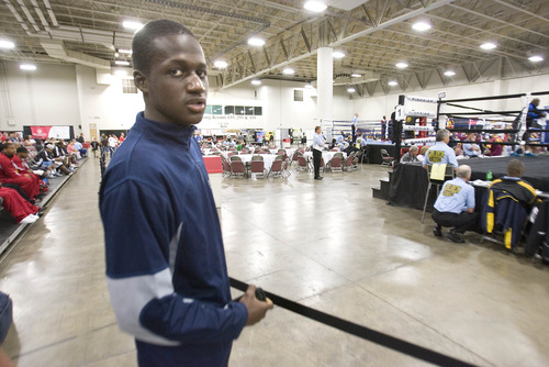 Paul Fraughton  |   Salt Lake Tribune Boubacar Sylla, an 18-year-old boxer from Cincinnati, was dropped from his Golden Gloves team Monday when he was unable to furnish proof of U.S. citizenship. Sylla hails from Senegal.