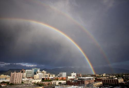 Lennie Mahler  |  The Salt Lake Tribune A rainbow touches down over the Salt Lake City skyline Wednesday, May 15, 2013.