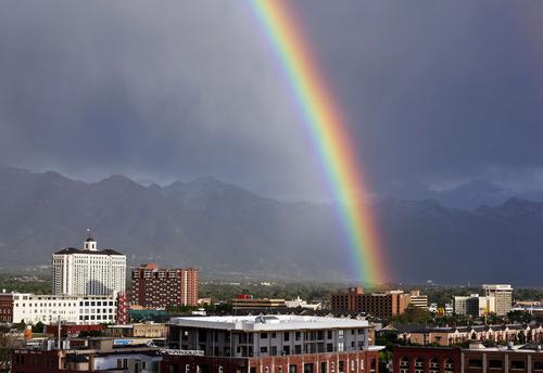 Lennie Mahler  |  The Salt Lake Tribune A rainbow touches down over Salt Lake City Wednesday, May 15, 2013.