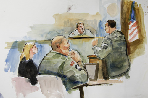 FILE - In this Tuesday, Nov. 13, 2012 courtroom sketch, U.S. Army Staff Sgt. Robert Bales, second from left, sits next to Emma Scanlan, left, his civilian attorney, as they listen to military prosecutor Maj. Rob Stelle, right, make his closing statements to Investigating Officer Col. Lee Deneke, second from upper right, on the final day of a preliminary hearing for Bales at Joint Base Lewis McChord in Washington state. Bales is accused of 16 counts of premeditated murder and six counts of attempted murder for a pre-dawn attack on two villages in Kandahar Province in Afghanistan on March 11, 2012. Bales has not entered a plea, but his lawyers have not disputed his involvement in the killings. The Army is seeking the death penalty. (AP Photo/Lois Silver)
