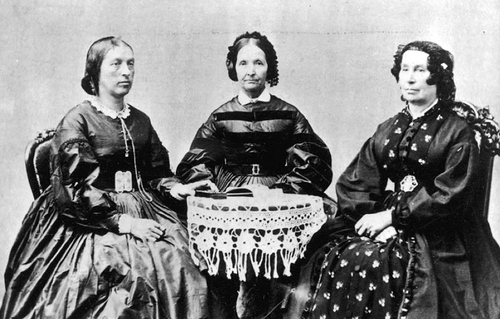 Photo Courtesy Utah Historical Society  Eliza Roxcy Snow (center,) with Hannah T. King and Elizabeth Howard. Snow, one of the most celebrated LDS women of the 19th century, penned the poem that embodies Mormon teachings about a Heavenly Mother.