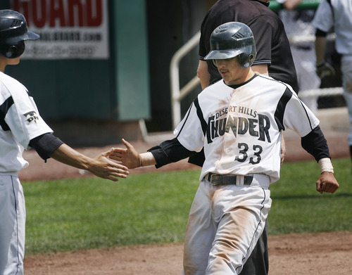 Scott Sommerdorf   |  The Salt Lake Tribune Desert Hills' Carson Clement scores the second run of the game as the Thunder beat Carbon 2-0 to advance in the 3A playoffs, Thursday, May 16, 2013.