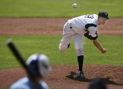 Scott Sommerdorf   |  The Salt Lake Tribune Desert Hills' Baden Powell throws during second inning of his three-hit win over Carbon as they won 2-0 to advance in the 3A playoffs, Thursday, May 16, 2013.