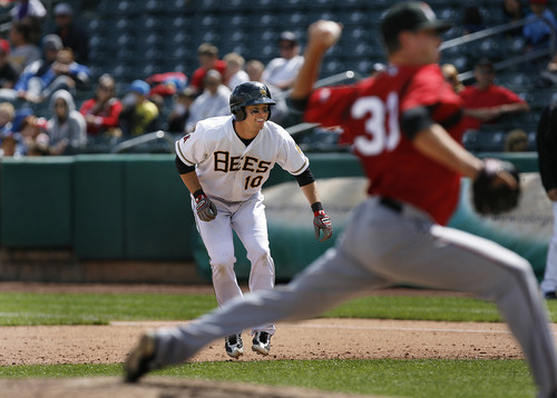 Scott Sommerdorf      The Salt Lake Tribune Bees DH Trent Oeltjen looks back at the batter while on base after a base hit against the Nashville Sound, Sunday, May 19, 2013. Oeltjen is the latest in a growing line of minor and major leaguers to hail from Australia.