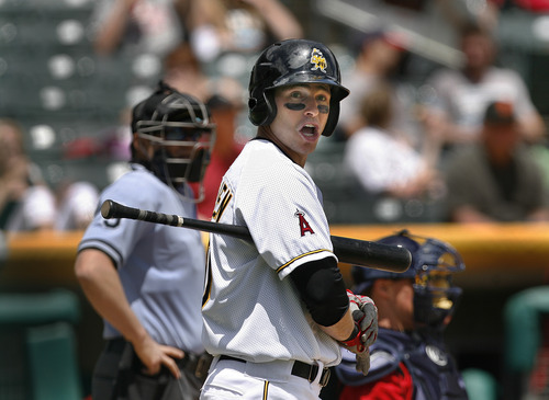 Scott Sommerdorf      The Salt Lake Tribune Bees DH Trent Oeltjen looks to the firsdt base coach during an at bat versus the Nashville Sound, Sunday, May 19, 2013. Oeltjen is the latest in a growing line of minor and major leaguers to hail from Australia.