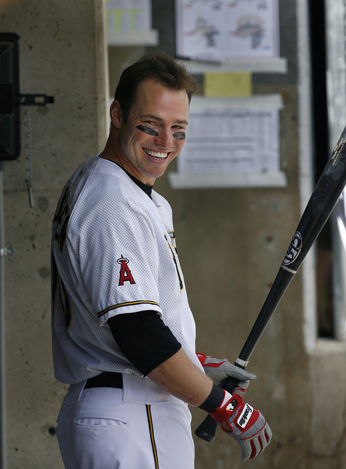 Scott Sommerdorf      The Salt Lake Tribune Bees DH Trent Oeltjen laughs with team mates in the dugout just prior to an at bat versus the Nashville Sound, Sunday, May 19, 2013. Oeltjen is the latest in a growing line of minor and major leaguers to hail from Australia.