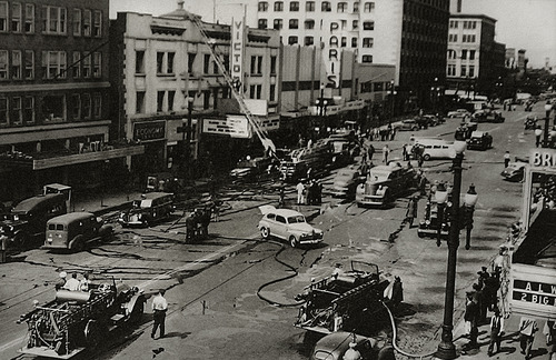 Scott Sommerdorf   |  The Salt Lake Tribune Salt Lake Fire Department photo shows the scene at the Victory Theater on May 19, 1943, where Lt. Melvin Hatch and firefighters Harry Christensen and Theron D. Johnson lost their lives fighting a fire. On Sunday, May 19, 2013, Salt Lake City firefighters paid a special tribute to the firefighters who lost their lives 70 years earlier.