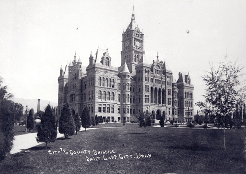 (Salt Lake Tribune Archives)  The Salt Lake City and County building on 400 S. State St. was originally constructed by free masons between 1891 and 1894. Construction of the building was riddled with controversy. During the late 19th and early 20th centuries the City and County Building was the symbol of non-Mormon citizens' open defiance of The Church of Jesus Christ of Latter-day Saints. It was designed to rival the Salt Lake Temple as the city's architectural centerpiece. It is even thought that the building's clock tower and statues were designed to mimic the temple's spires and statue of the angel Moroni.