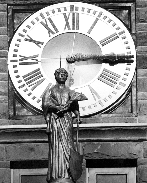 (Salt Lake Tribune Archives)  A detail shot of the clock tower on the Salt Lake City and County Building on 400 S. State St. The building was originally constructed by Freemasons between 1891 and 1894. Construction of the building was riddled with controversy. During the late 19th and early 20th centuries the City and County Building was the symbol of non-Mormon citizens' open defiance of The Church of Jesus Christ of Latter-day Saints. It was designed to rival the Salt Lake Temple as the city's architectural centerpiece. It is even thought that the building's clock tower and statues were designed to mimic the temple's spires and statue of the angel Moroni.
