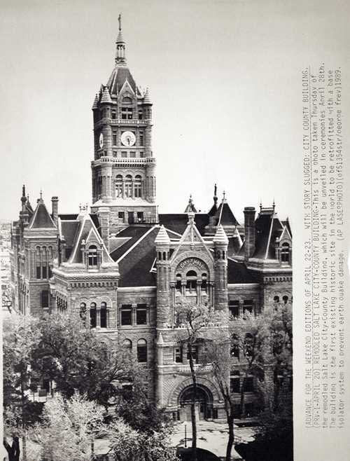 (Salt Lake Tribune Archives)  The Salt Lake City and County Building on 400 S. State St., seen here in 1989, was the first existing historic site in the world to be retrofitted with a base isolator system to prevent earthquake damage. The building was originally constructed by Freemasons between 1891 and 1894.