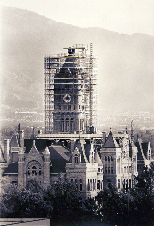 (Salt Lake Tribune Archives)  The Salt Lake City and County Building on 400 S. State St. The building was originally constructed by Freemasons between 1891 and 1894. Construction of the building was riddled with controversy. During the late 19th and early 20th centuries the City and County Building was the symbol of non-Mormon citizens' open defiance of The Church of Jesus Christ of Latter-day Saints. It was designed to rival the Salt Lake Temple as the city's architectural centerpiece. It is even thought that the building's clock tower and statues were designed to mimic the temple's spires and statue of the angel Moroni.