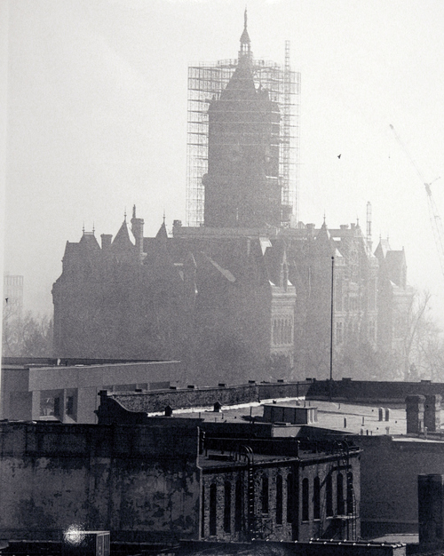 (Salt Lake Tribune Archives)  Smog enshrouds the Salt Lake City and County Building on 400 S. State St. during its renovation. The building was originally constructed by Freemasons between 1891 and 1894.