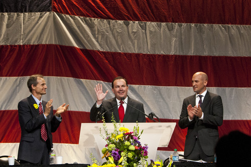 Chris Detrick  |  The Salt Lake Tribune Senator Mike Lee speaks during the Utah Republican Party Organizing Convention at the South Towne Expo Saturday May 18, 2013.