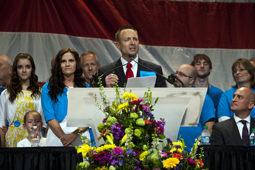 Chris Detrick  |  The Salt Lake Tribune Aaron Gabrielson, who is running to be the next chairman of the Utah Republican Party, speaks during the Utah Republican Party Organizing Convention at the South Towne Expo Saturday May 18, 2013.