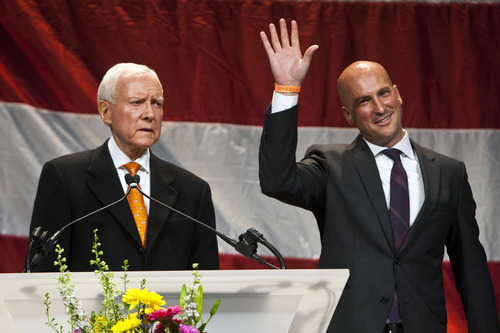 Chris Detrick  |  The Salt Lake Tribune Utah GOP Chairman Thomas Wright and United States Senator Orrin Hatch speak during the Utah Republican Party Organizing Convention at the South Towne Expo Saturday May 18, 2013.