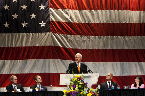 Chris Detrick  |  The Salt Lake Tribune United States Senator Orrin Hatch speaks during the Utah Republican Party Organizing Convention at the South Towne Expo Saturday May 18, 2013.