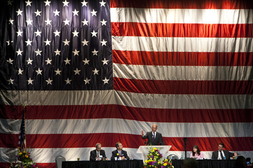 Chris Detrick  |  The Salt Lake Tribune Utah GOP Chairman Thomas Wright speaks during the Utah Republican Party Organizing Convention at the South Towne Expo Saturday May 18, 2013.