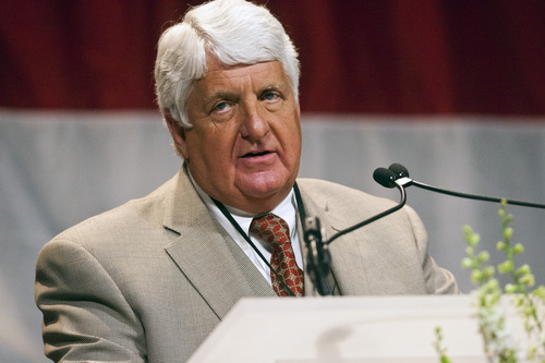 Chris Detrick  |  The Salt Lake Tribune Congressman Rob Bishop speaks during the Utah Republican Party Organizing Convention at the South Towne Expo Saturday May 18, 2013.