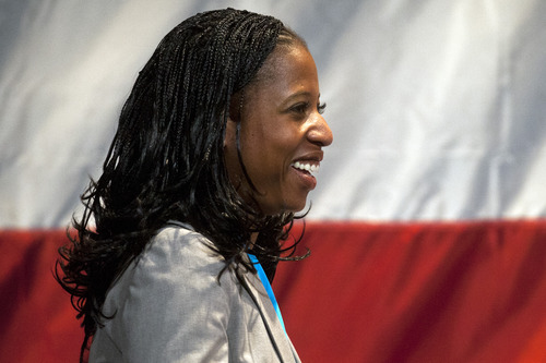 Chris Detrick  |  The Salt Lake Tribune Mia Love speaks during the Utah Republican Party Organizing Convention at the South Towne Expo Saturday May 18, 2013.