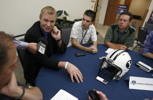 Francisco Kjolseth  |  The Salt Lake Tribune BYU holds its football media day on Wednesday, June 27, 2012, as coach Bronco Mendenhall speaks with the media during a round table a good six weeks before the start of training camp at the new BYU broadcasting building on campus.