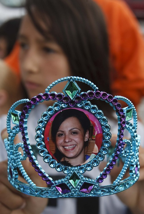 Leah Hogsten  |  The Salt Lake Tribune Analise Lucero, 9, shows the tiaras made for her and her two sisters in honor of her mother Danielle. Magical Celebration hosted a princess birthday party Saturday for Aliveah Montoya, 4, and her two sisters Ava Montoya, 6, and Analise Lucero, 9, after hearing about the shooting death of the girls' mother, Danielle Lucero. Magical Celebration hosted a princess birthday party for Aliveah and her two sisters Ava Montoya, 6, and Analise Lucero, 9, after hearing about the shooting death of the girls' mother, Danielle Lucero. Lucero was one of three people shot and killed inside a Midvale home in February.