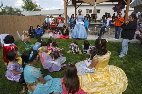 Leah Hogsten  |  The Salt Lake Tribune Magical Celebration hosted a princess birthday party for Aliveah Montoya, 4, and her two sisters Ava Montoya, 6, and Analise Lucero, 9, on Saturday, May 18, 2013, after hearing about the shooting death of the girls' mother, Danielle Lucero. Magical Celebration hosted a princess birthday party for Aliveah and her two sisters Ava Montoya, 6, and Analise Lucero, 9, after hearing about the shooting death of the girls' mother, Danielle Lucero. Lucero was one of three people shot and killed inside a Midvale home in February.