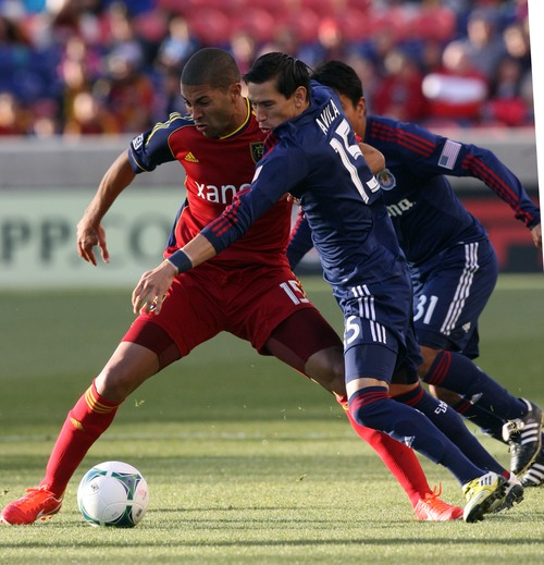 Kim Raff  |  The Salt Lake Tribune (left) Real Salt Lake forward Alvaro Saborio (15) tries to keep possession of the ball as he is challenged by (right) Chivas USA midfielder Eric Avila (15) during the first half of a game at Rio Tinto Stadium in Sandy on April 20, 2013.