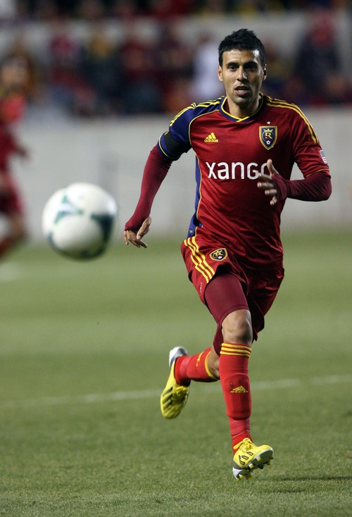 Kim Raff  |  The Salt Lake Tribune Real Salt Lake midfielder Javier Morales (11) chases down a ball in Chivas USA territory during the second half at Rio Tinto Stadium in Sandy on April 20, 2013. Morales scored the only goal of the night as Real Salt Lake defeated Chivas USA 1-0.