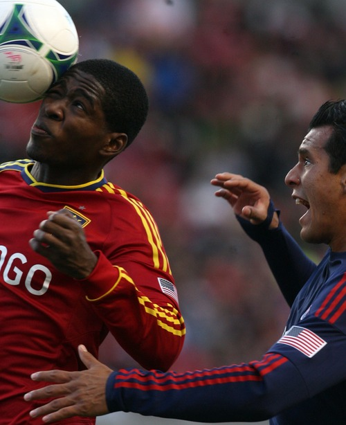 Kim Raff  |  The Salt Lake Tribune Real Salt Lake forward Olmes Garcia beats (right) Chivas USA defender Mario De Luna (3) to a head ball during the first half of a game at Rio Tinto Stadium in Sandy on April 20, 2013. Real went on to win the game 1-0.