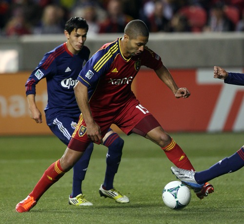 Kim Raff  |  The Salt Lake Tribune Real Salt Lake forward Alvaro Saborio (15) tries to keep control of the ball in Chivas USA's territory during the second half at Rio Tinto Stadium in Sandy on April 20, 2013. Real went on to win the game 1-0.