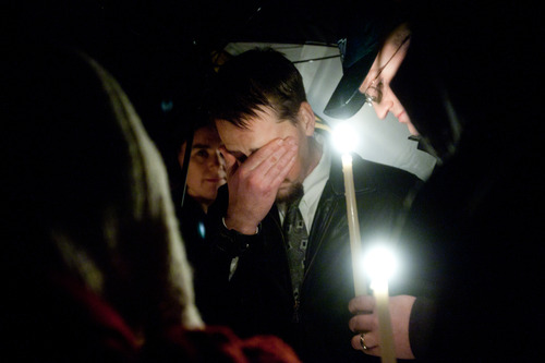 Susan Powell's husband Joshua Powell during a candle light vigil at the Church of Jesus Christ of Latter-day Saints, Ridgecrest Building in Puyallup, Washington Sunday December 20, 2009. Susan Powell has been missing since Dec. 7. Her husband Joshua Powell said he last saw her at 12:30 a.m. that day when he took their two young sons on a camping trip and left Susan Powell at home.  West Valley City police have called Joshua Powell a person of interest and said he has not been forthcoming in two interviews with detectives.  Photo by Chris Detrick | The Salt Lake Tribune
